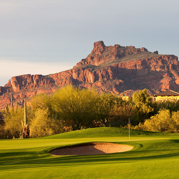 Views of Superstition Mountains from the golf course