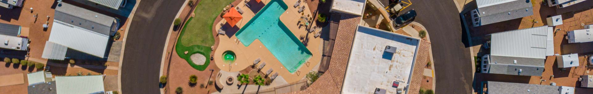 Aerial of Shiprock RV Resort pool