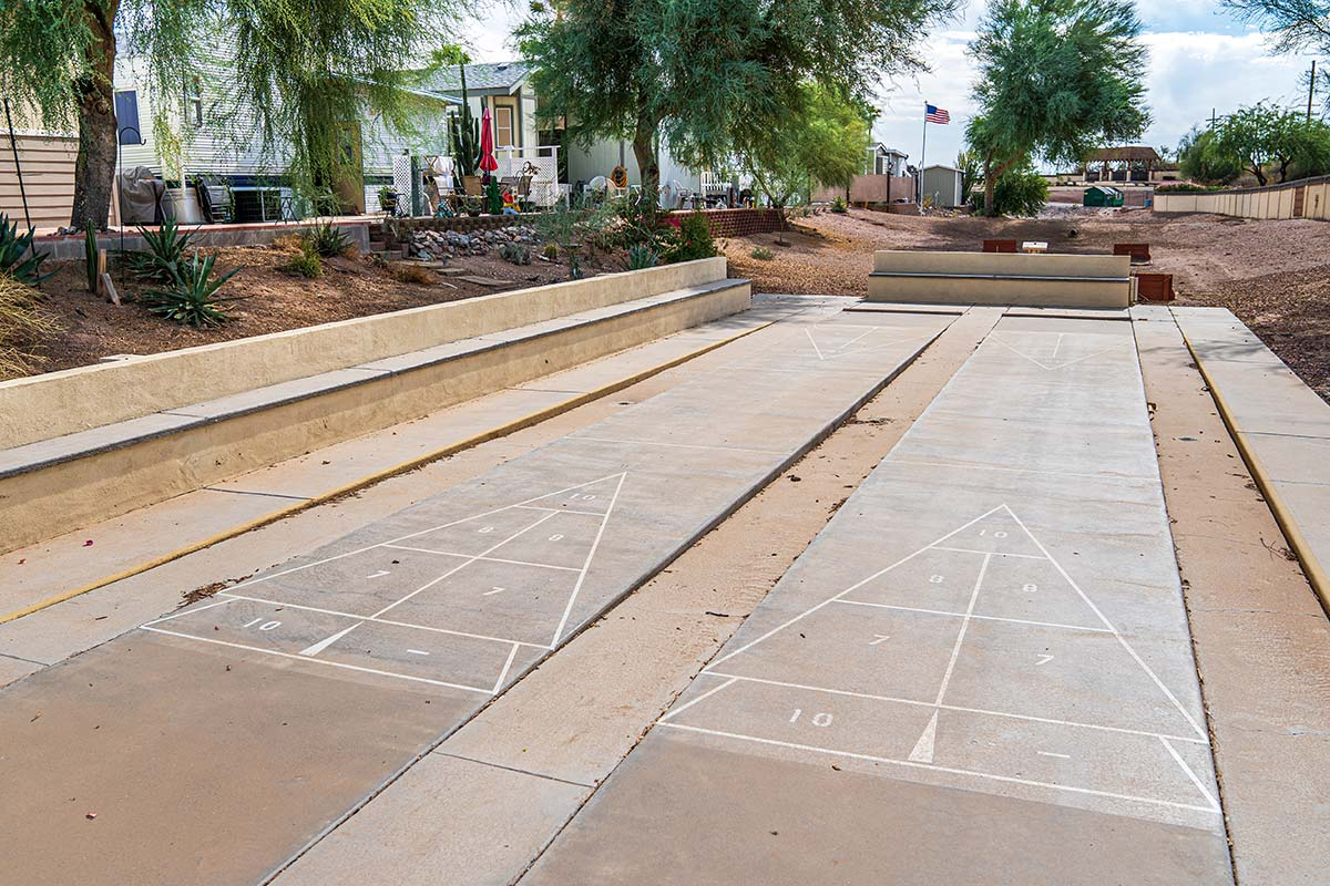 Superstition Lookout RV Resort shuffle board courts