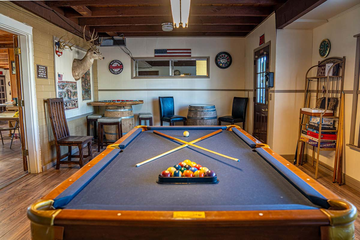 Billards table in the clubhouse at Country Club Mobile Home & RV Park