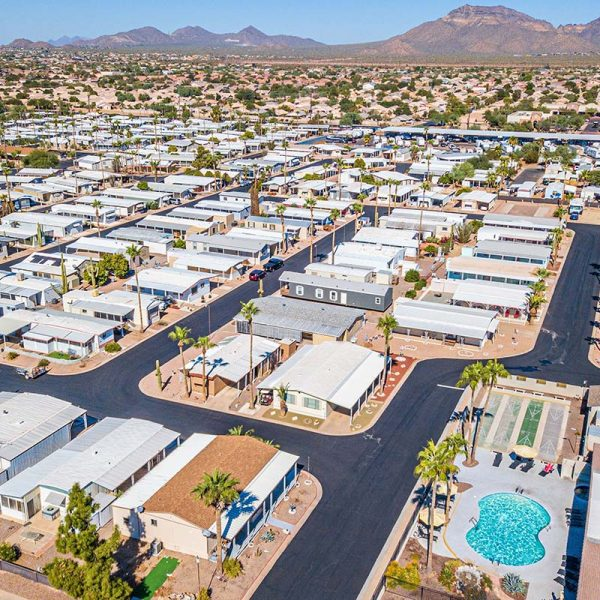 Aerial shot of El Dorado Mobile Estates & RV Park