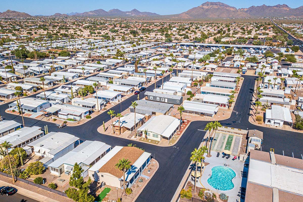Aerial shot of El Dorado Mobile Estates & RV Park