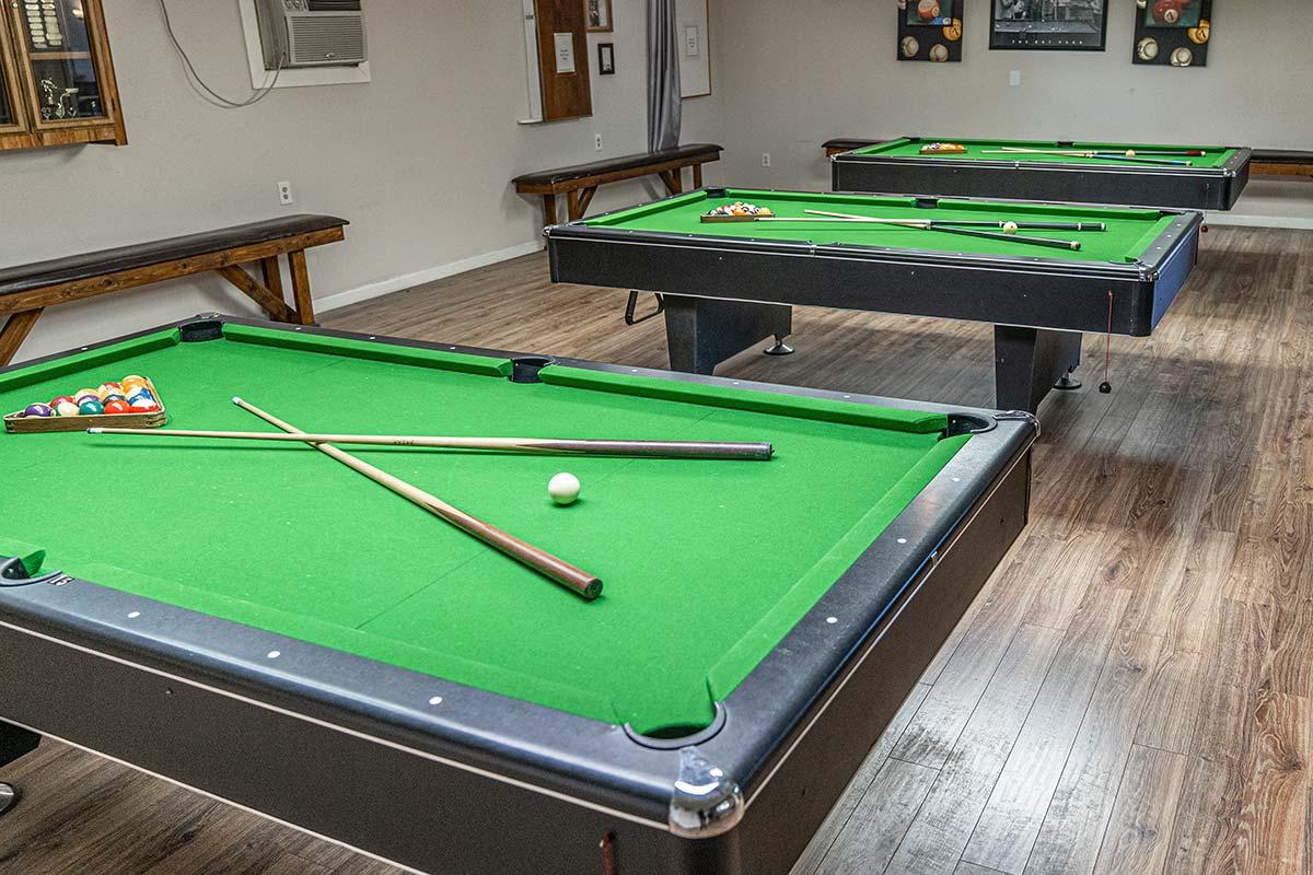 El Dorado's Billiards room with multiple tables
