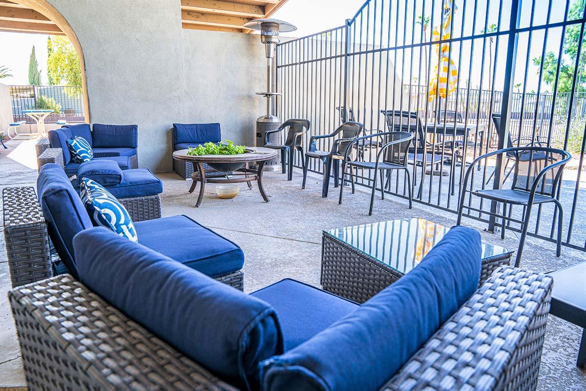 Outdoor seating at El Dorado's clubhouse