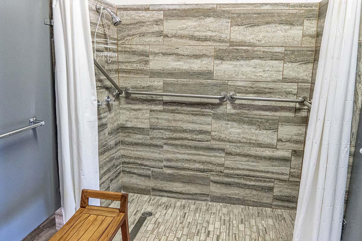 Poolside shower in El Dorado Mobile Estates & RV Park