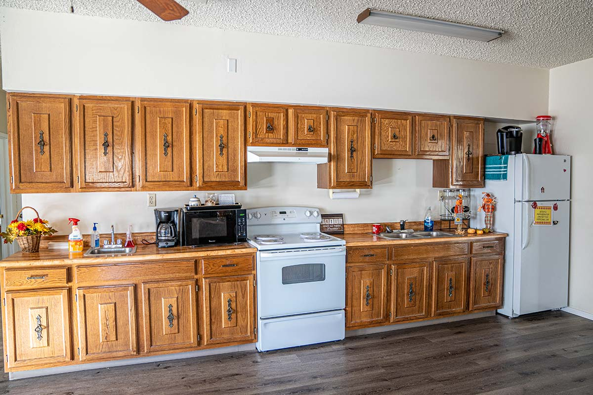 Clubhouse kitchen at Houston Creek Senior RV Resort Community