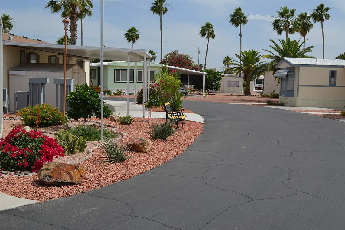Paved streets through Ironwood RV & Mobile Home Park