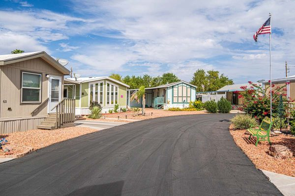 Blue skies in Arizona's beautiful weather at Ironwood RV & Mobile Home Park