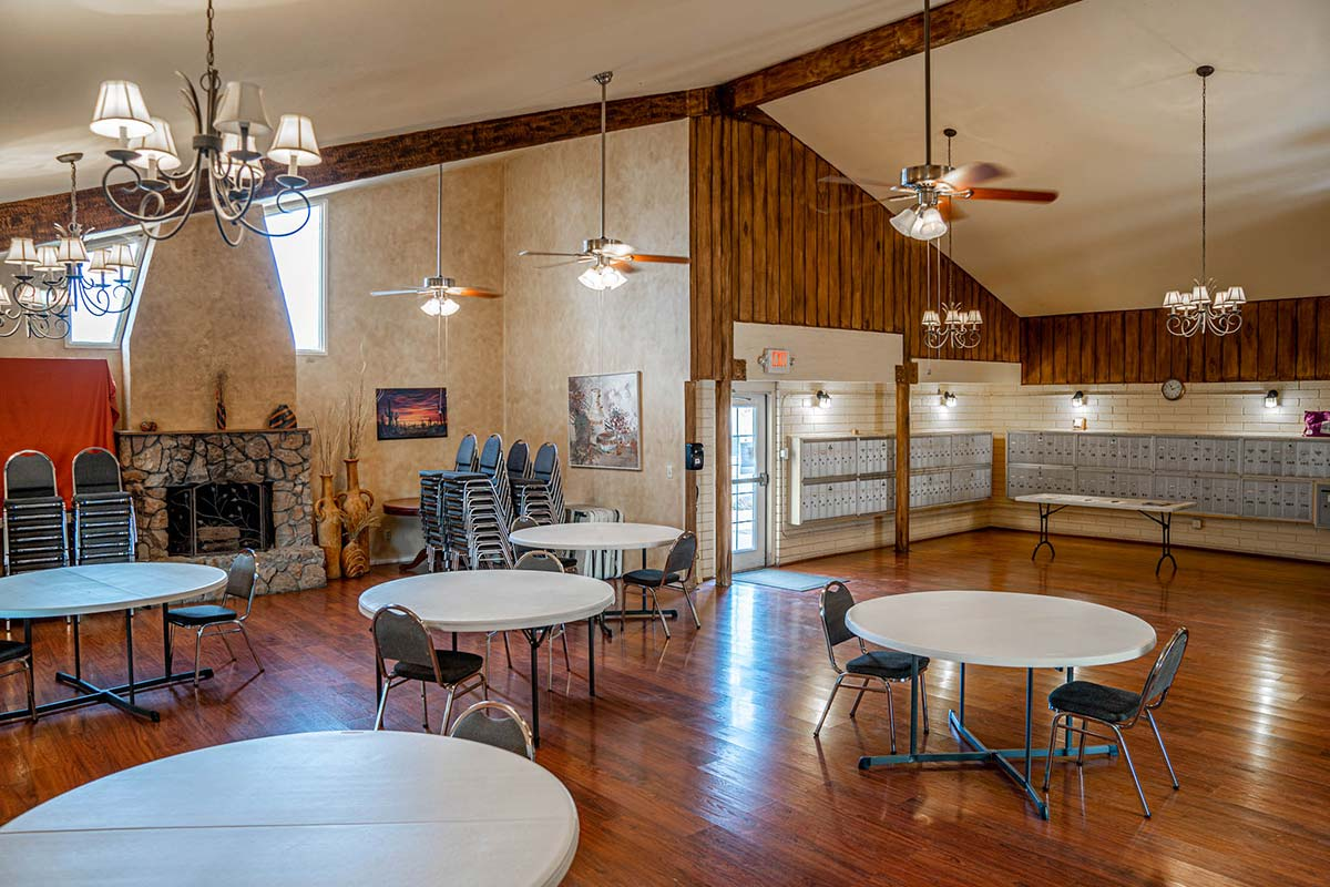 Large rec room at Ironwood RV & Mobile Home Park