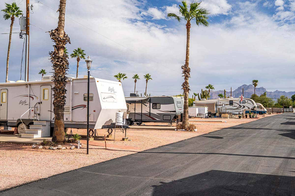 RVs and Campers along paved streets at Ironwood RV & Mobile Home Park