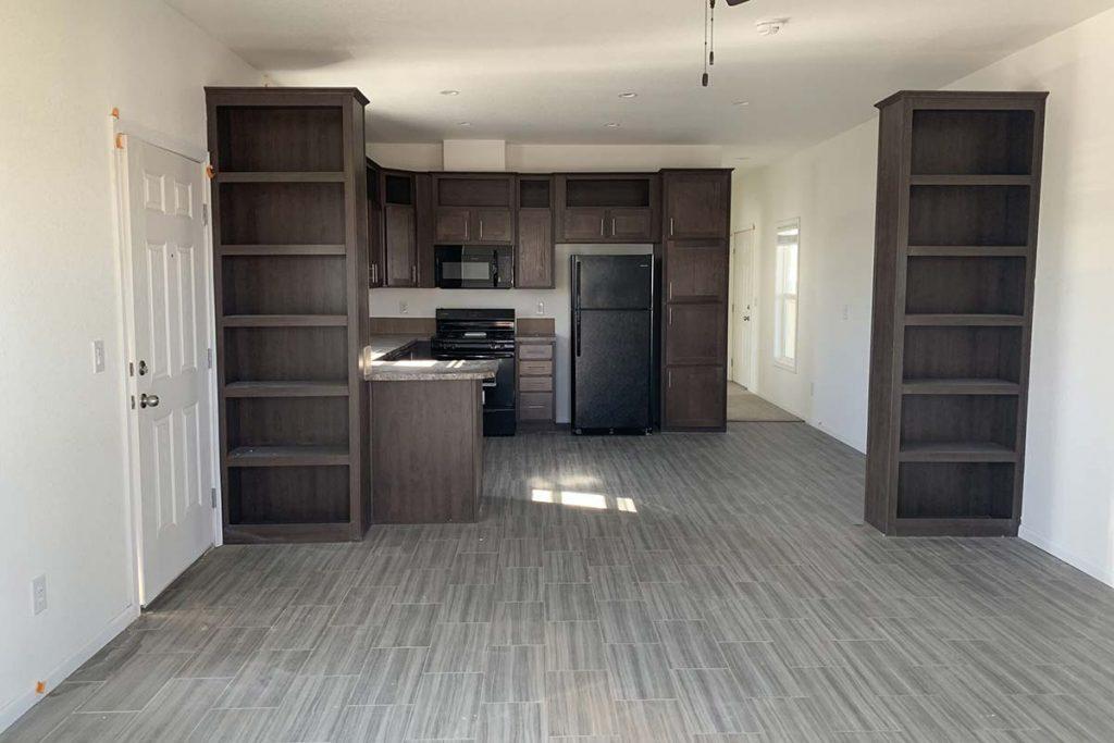 Open floor plan in Meridian #142 mobile home