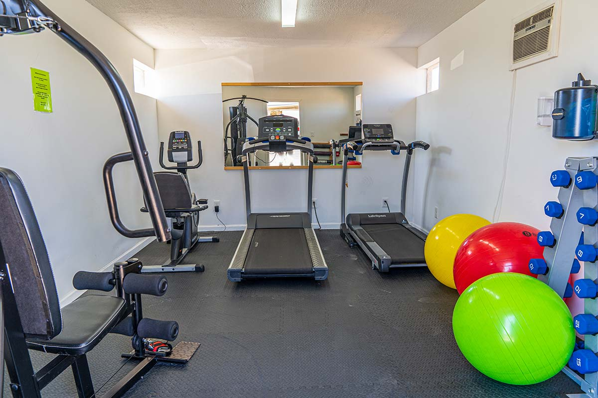 Exercise room with treadmills, exercise bikes, and other strength equipment at Meridian RV Resort