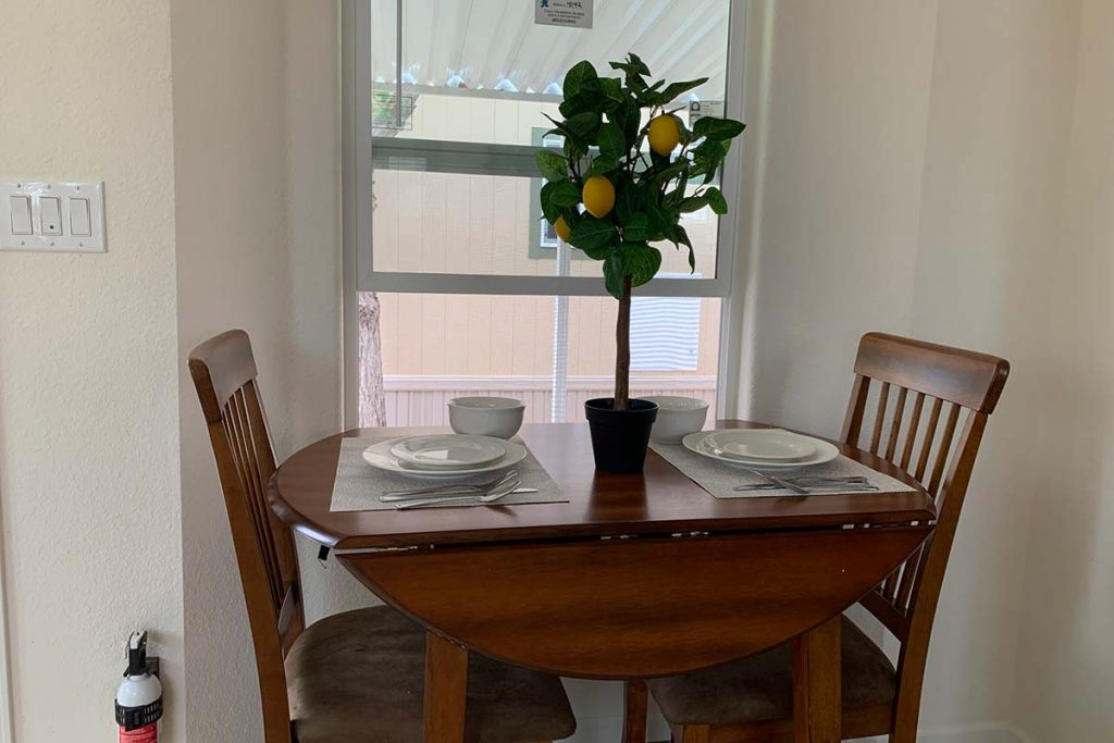 Pineview B-43 dining table in front of bright window