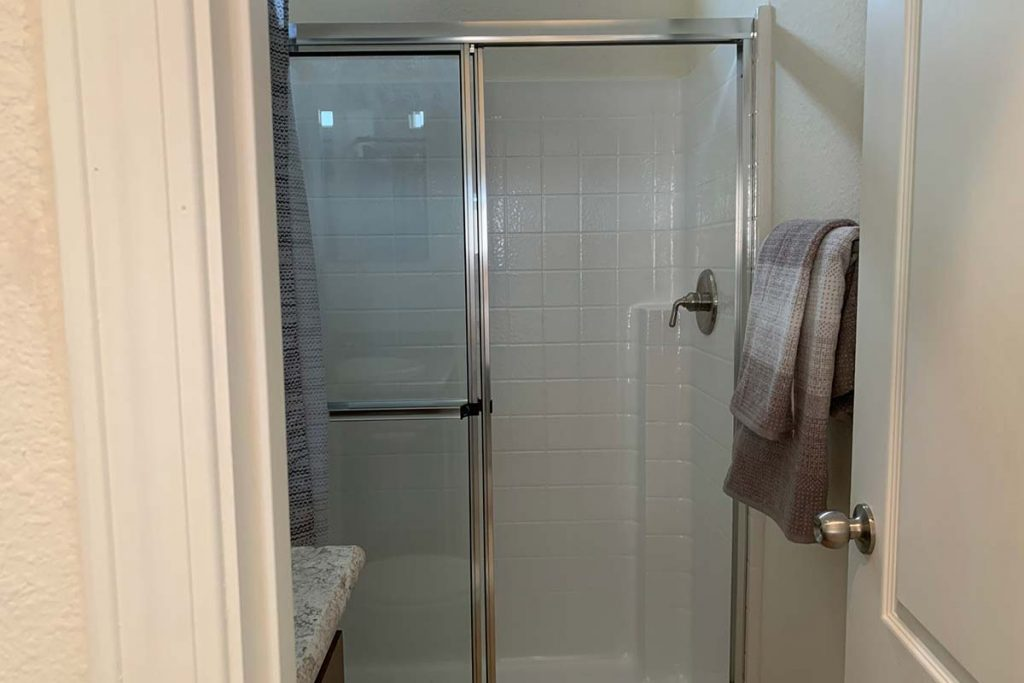 Pineview B-43 bathroom with walk in shower