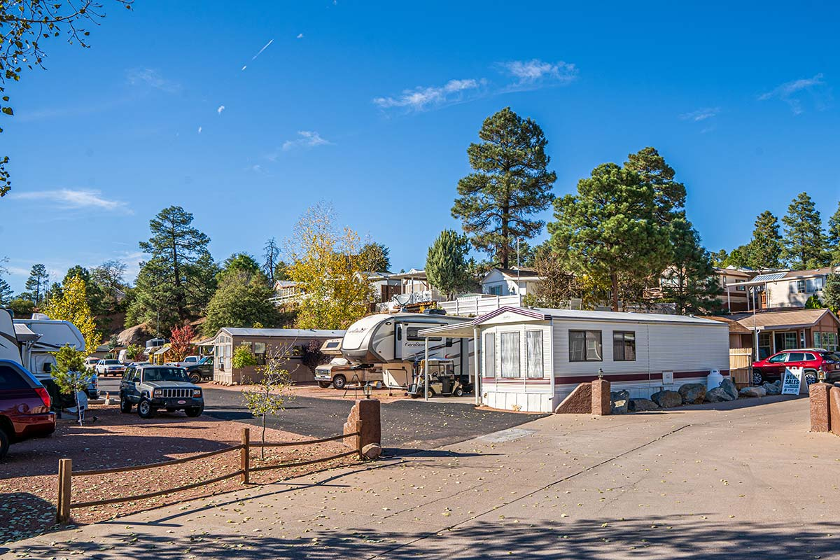 Multi-level lots throughout Pineview RV Resort's rolling hills