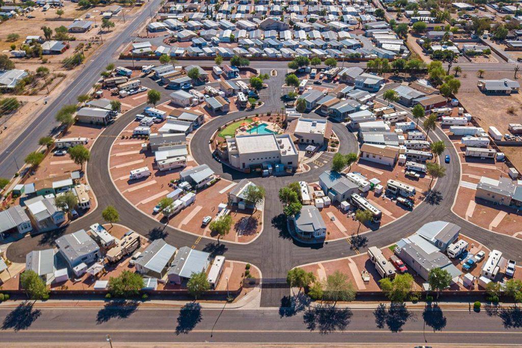 Aerial photo of Shiprock RV Resort