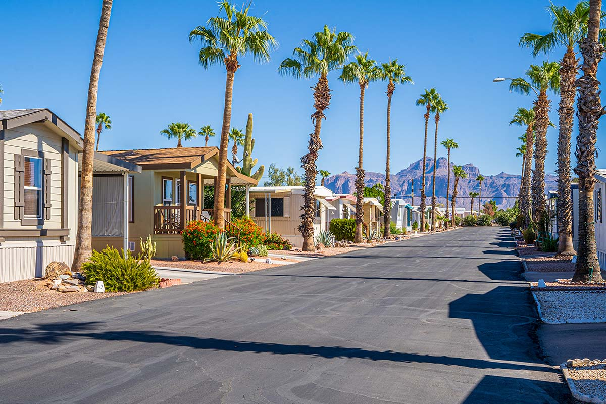 Sierra Leone RV Park with views of Superstition Mountains