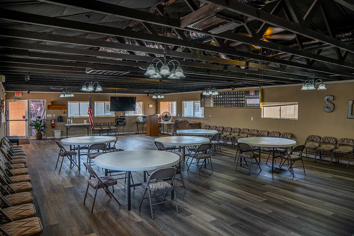 Large renovated recreation hall at Sierra Leone RV Park