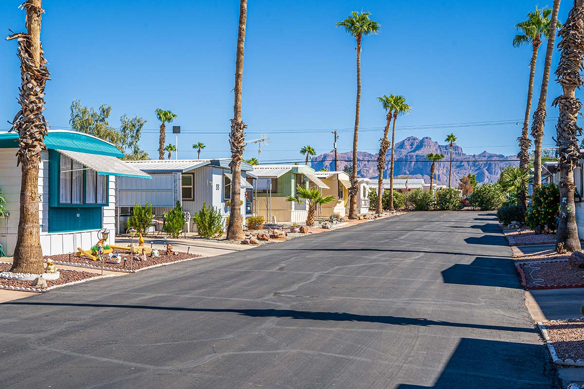 Beautiful views of Arizona's Superstition Mountains from your lot at Sierra Leone RV Park