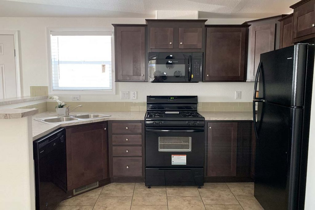 Superstition #145 kitchen with black appliances