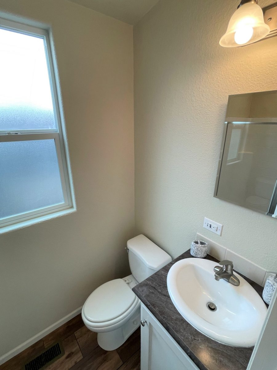 Restroom with white toilet, white sink on dark marble-style laminate counter with white cabinet, frosted window, mirror