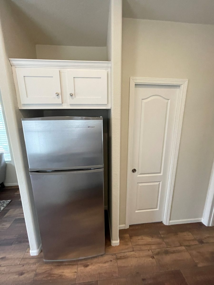 FRIDGE with white overhead cabinet in kitchen with dark flooring, white pantry