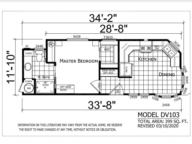 Park Model floor plan. 1 bed 1 bath