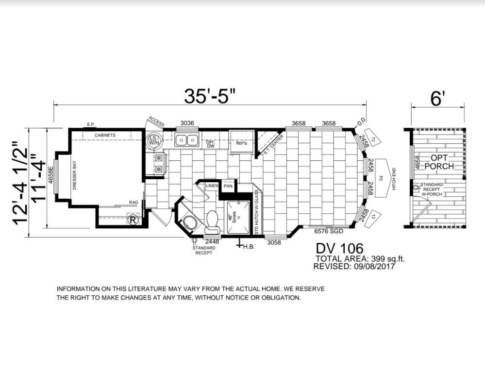 Park Model floor plan. 1 bed 1 bath optional porch